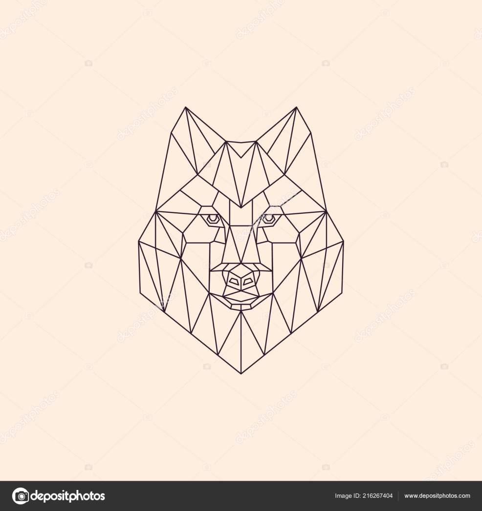 геометрические линейной полигональных волк абстрактные голова