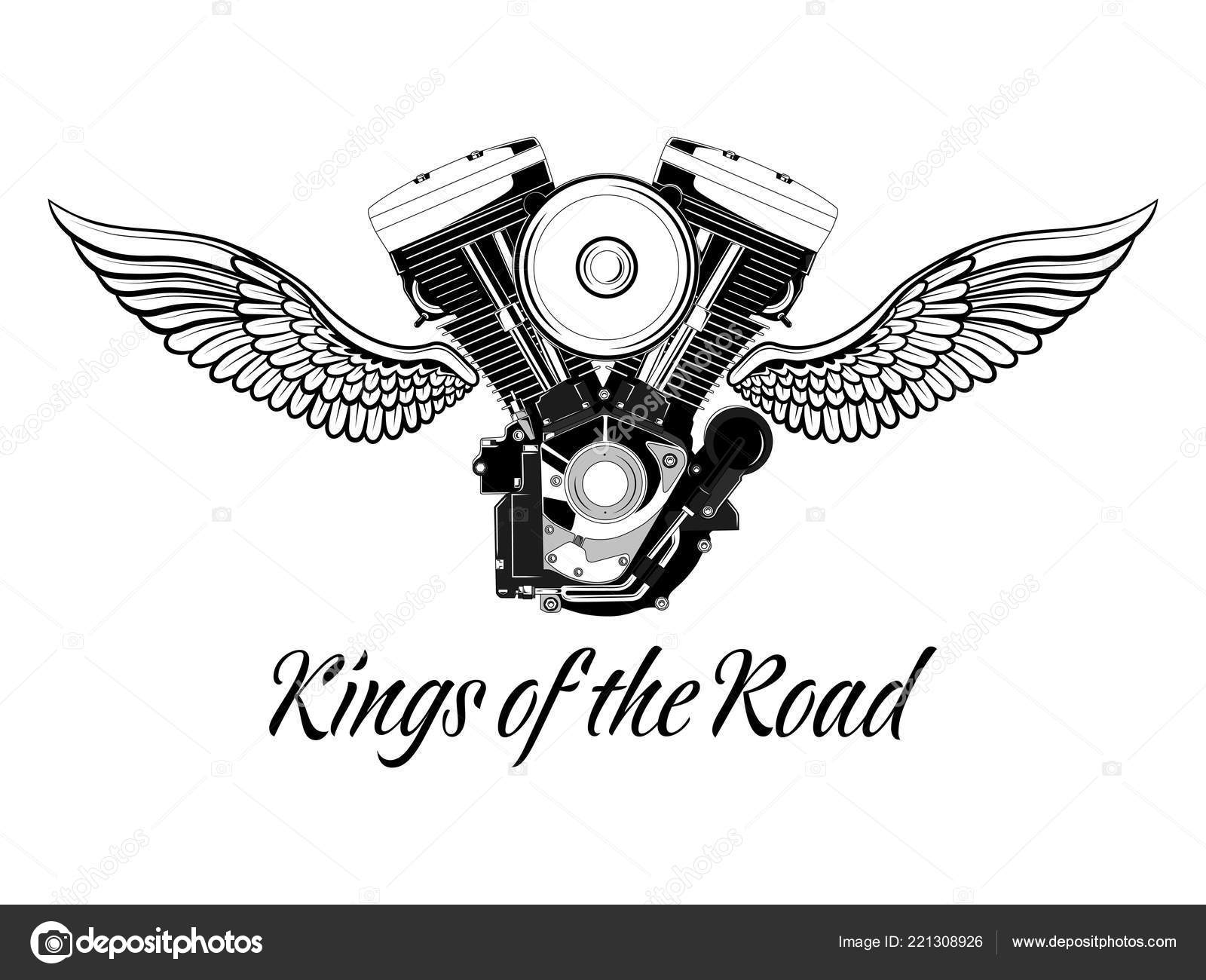 Motorcycle Engine Wings Inscription Black White Vector