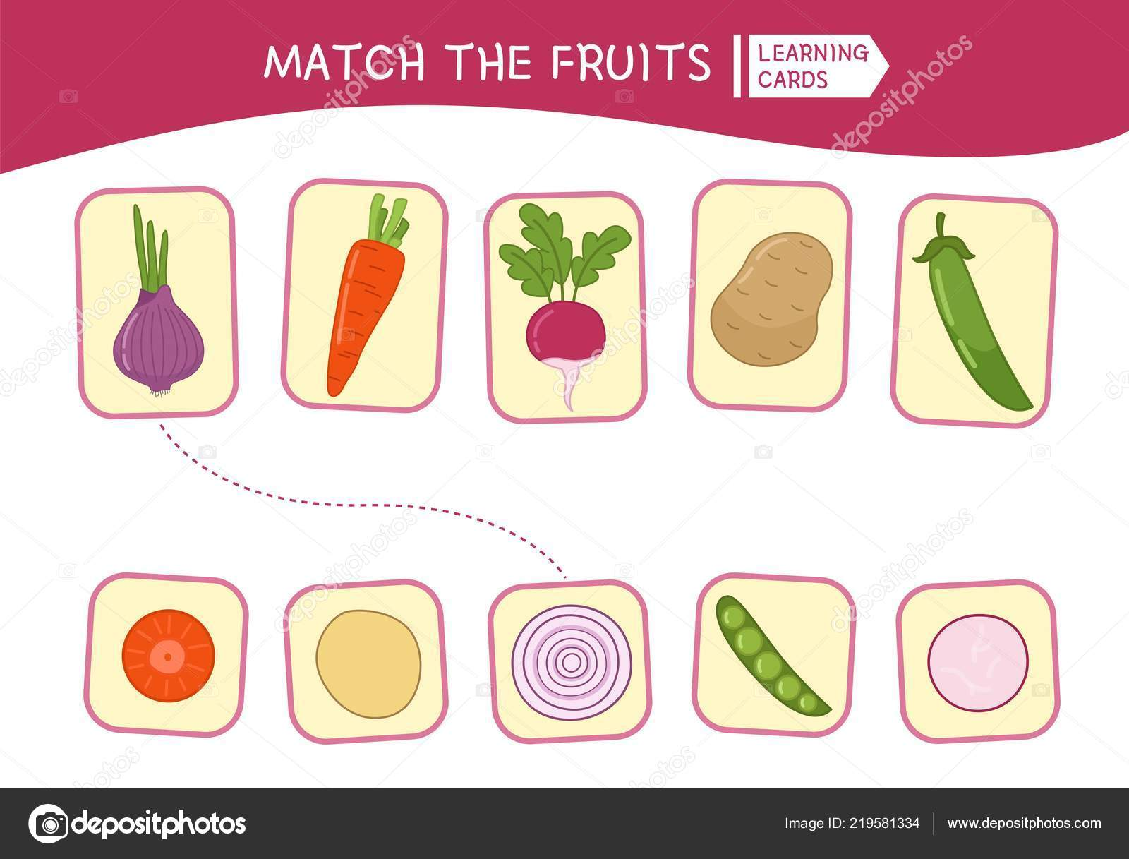 Matching Children Educational Game Match Parts Cartoon