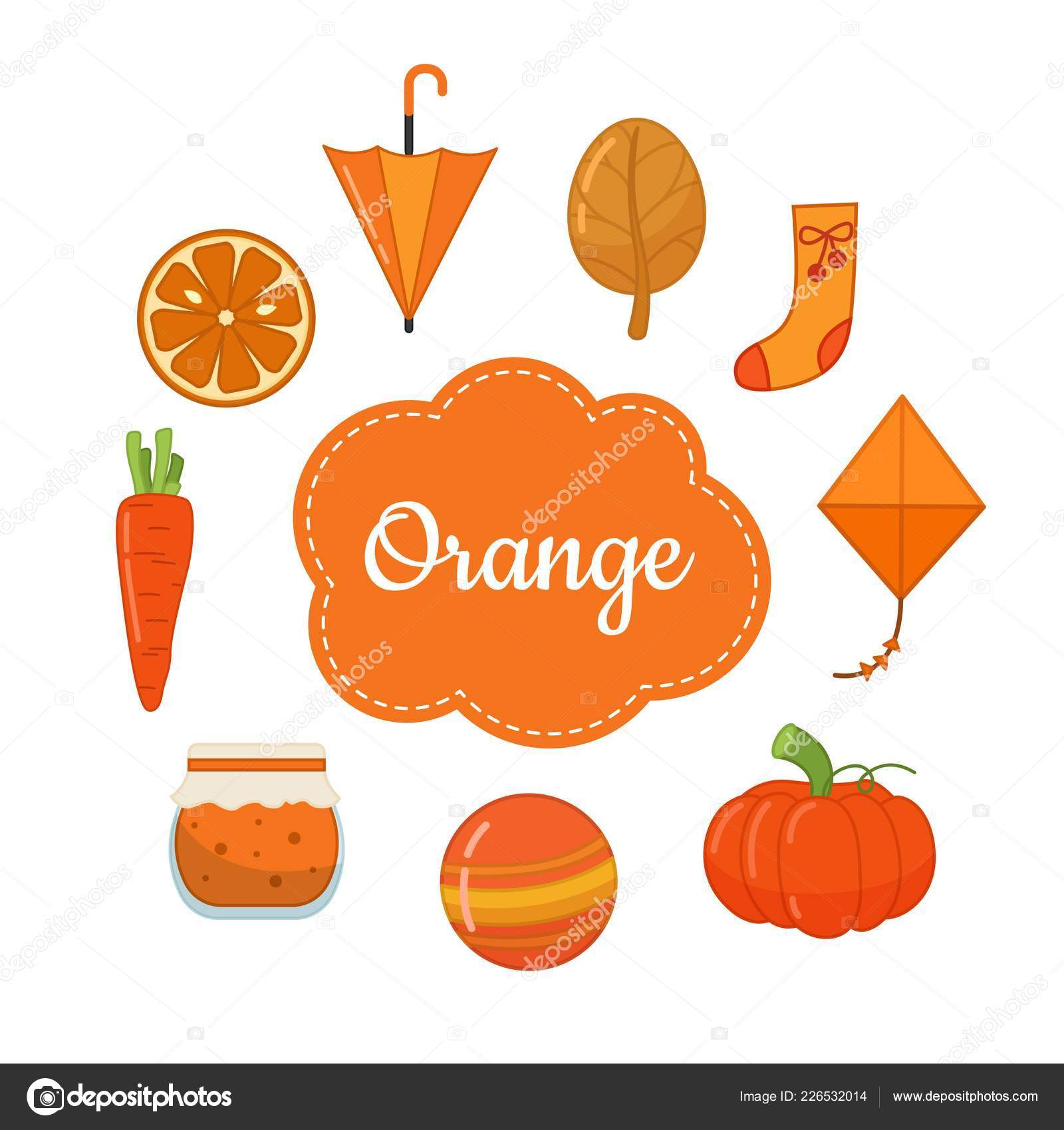 Learn Primary Colors Orange Different Objects Orange Color