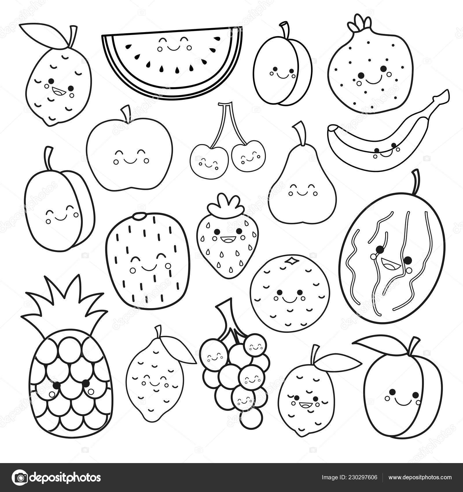 Vector Set Cute Fruits Coloring Book Kids