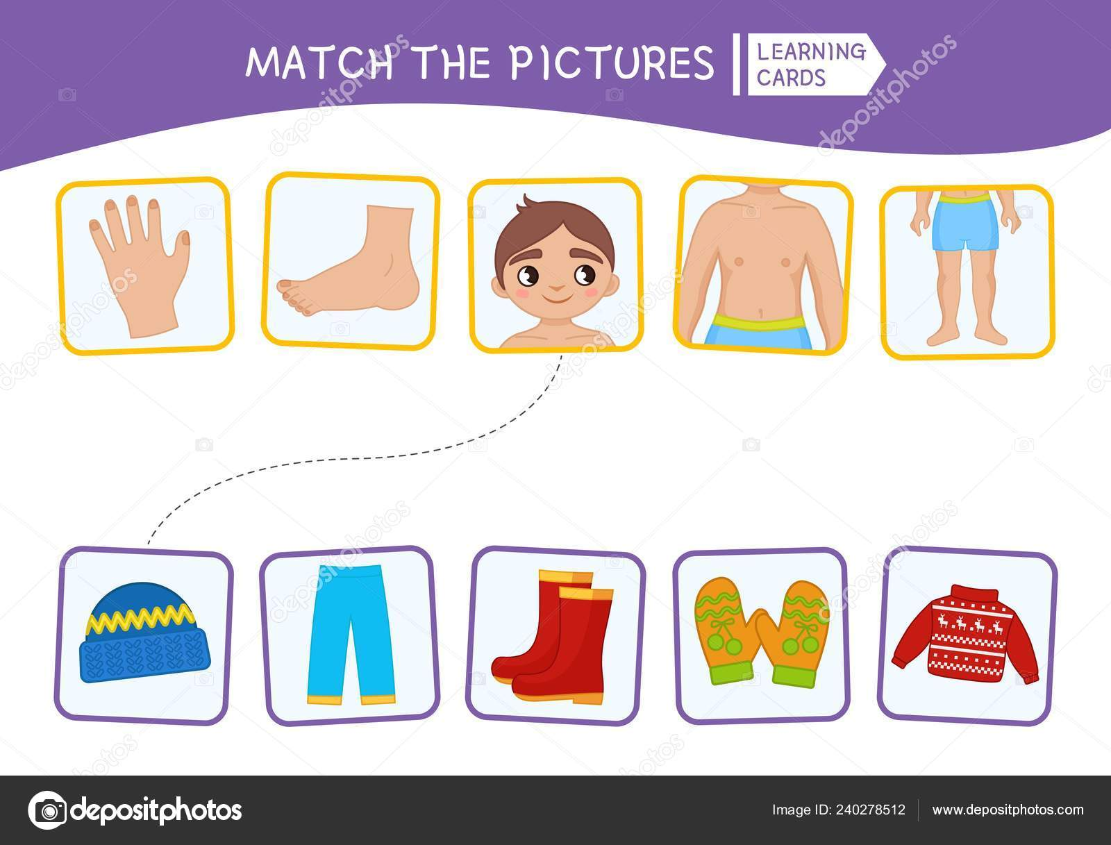 Matching Children Educational Game Match Body Parts