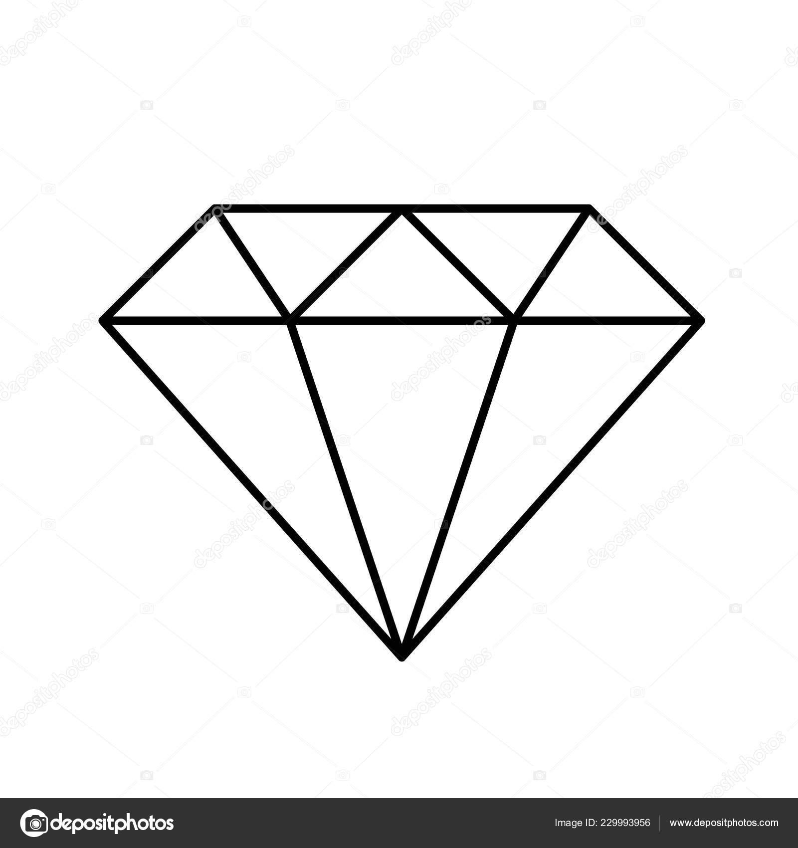 Diamond Simple Icon Pictogram Outline