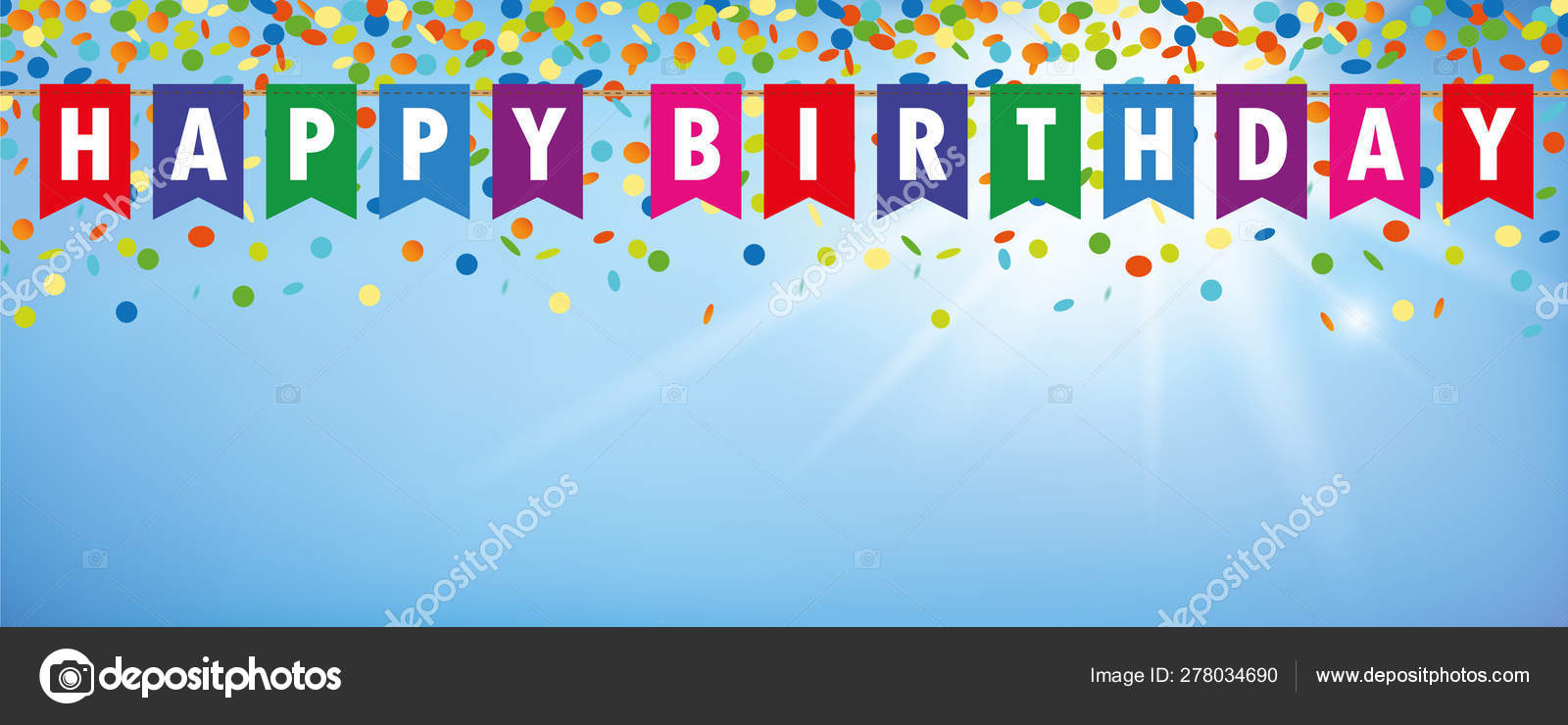 Happy Birthday Party Flags Banner With Confetti Rain On Blue Sunny Background Stock Vector C Krissikunterbunt 278034690