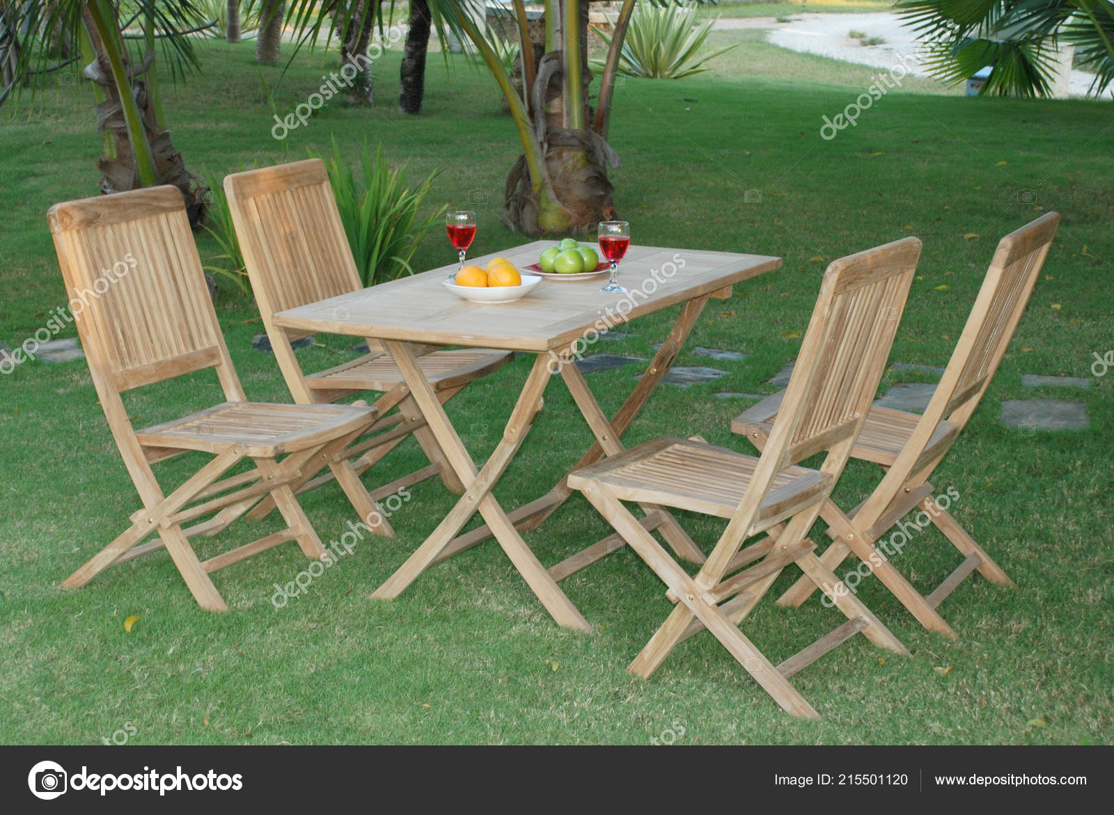 Teak Garden Furniture Outdoor Teak Garden Furniture Folding Chairs Table Stock Photo C Logonesia 215501120
