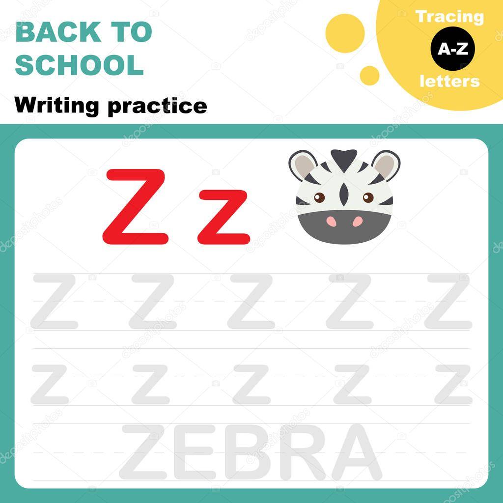 Back School Writing Practice Worksheet Tasing Alphabet