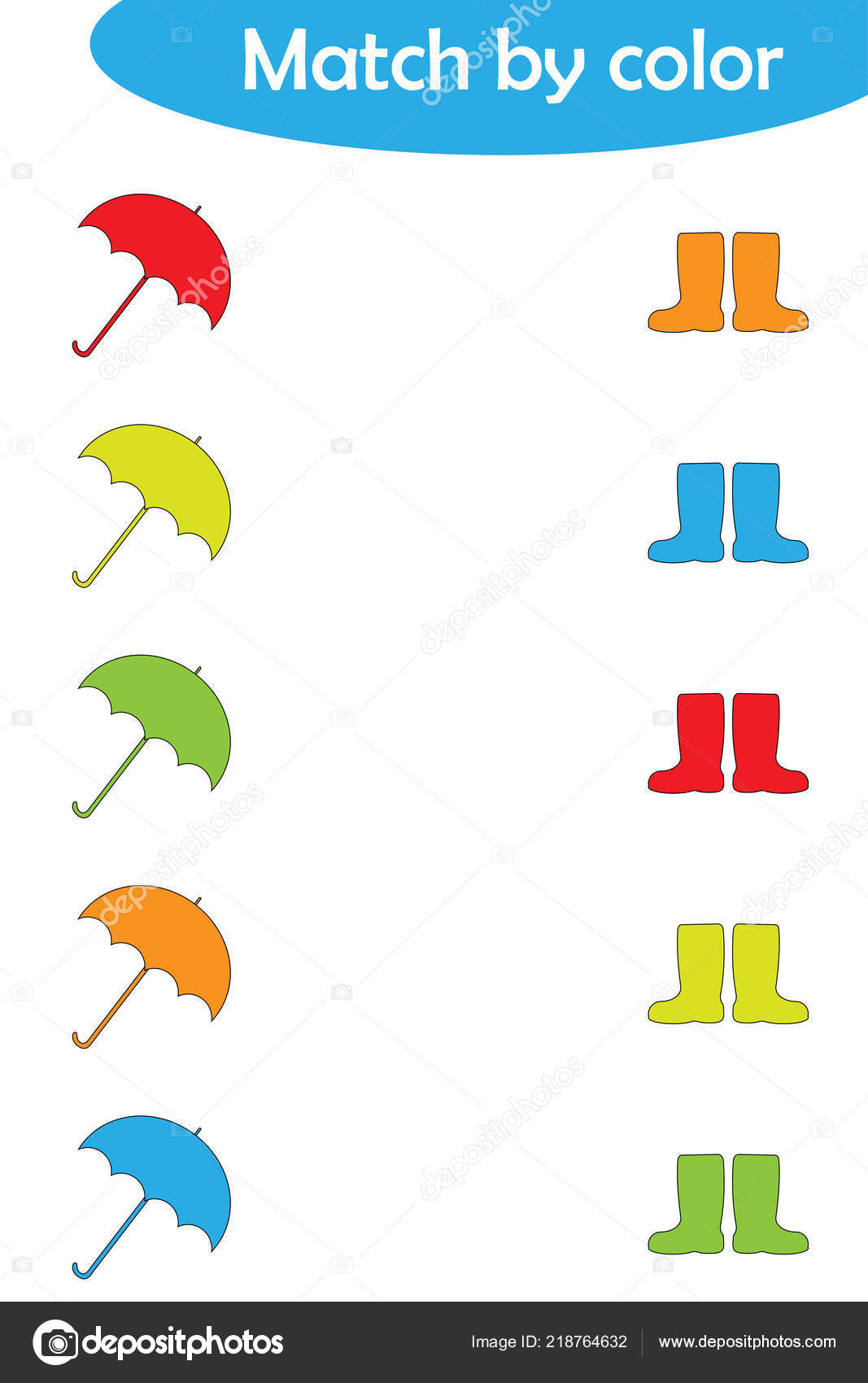 Matching Game Children Connect Umbrellas Boots Color
