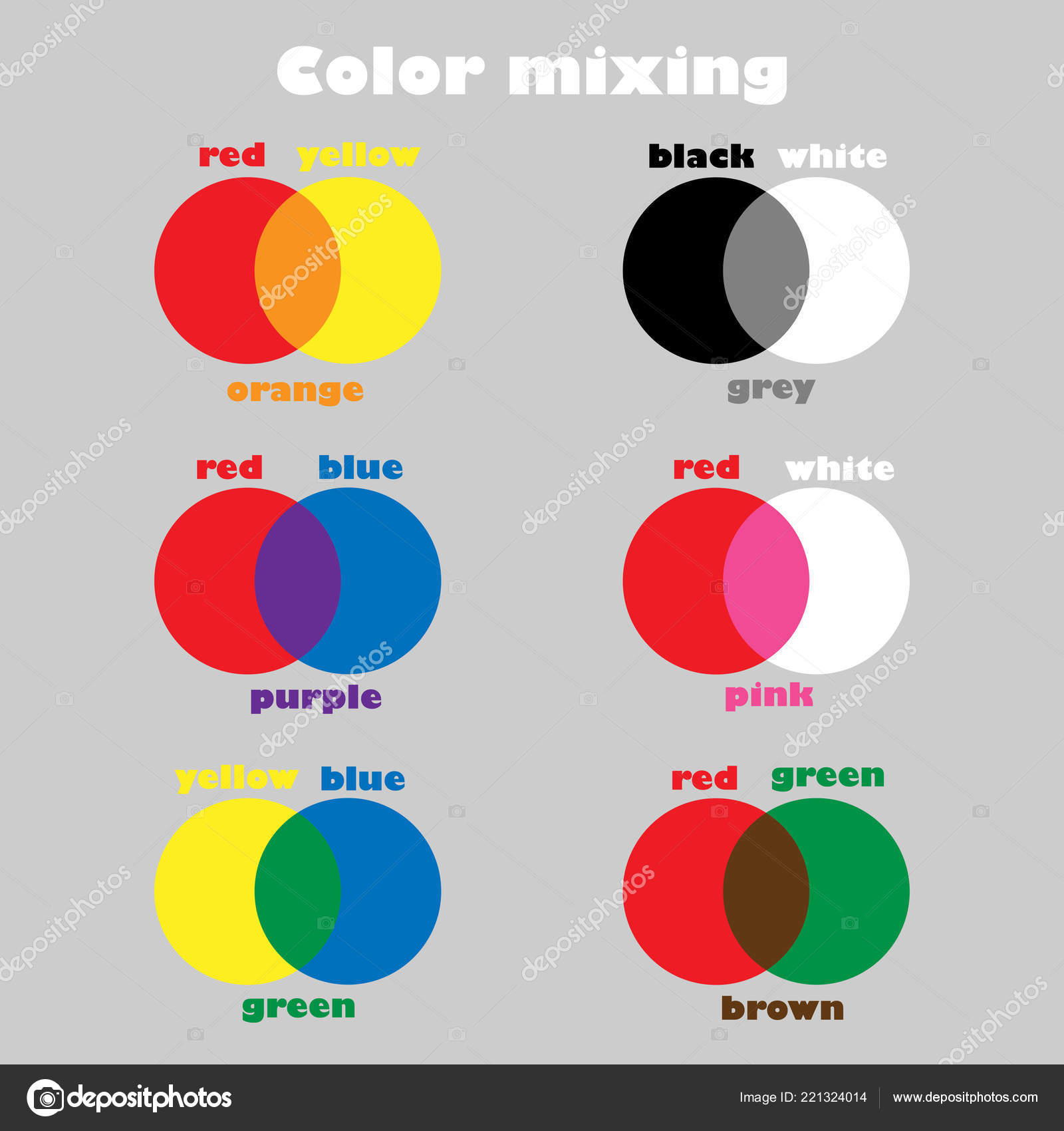 Learning Colors Mixing Children Fun Education Game Kids Preschool Worksheet