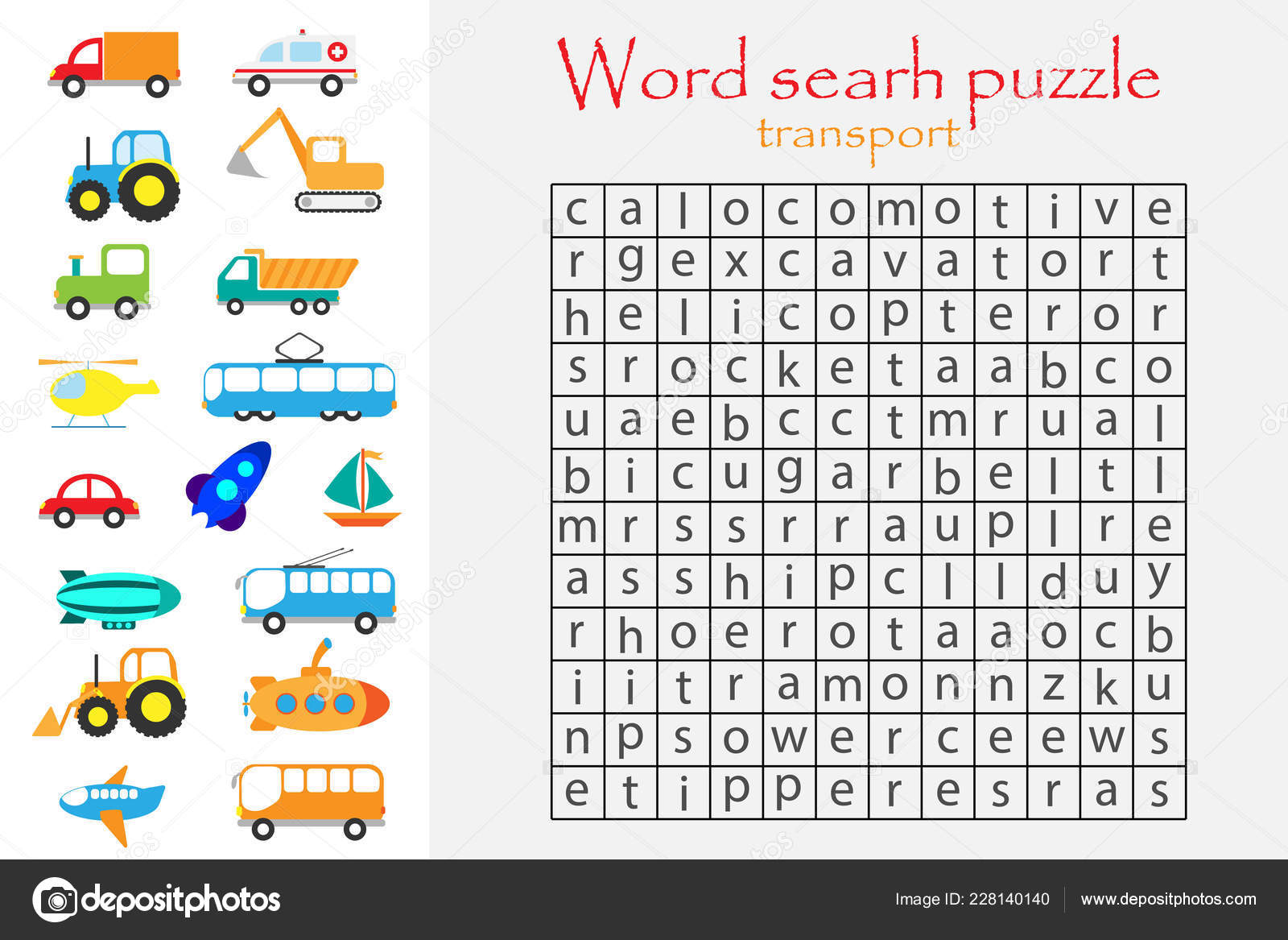 Word Search Puzzle Children Transport Theme Fun Education