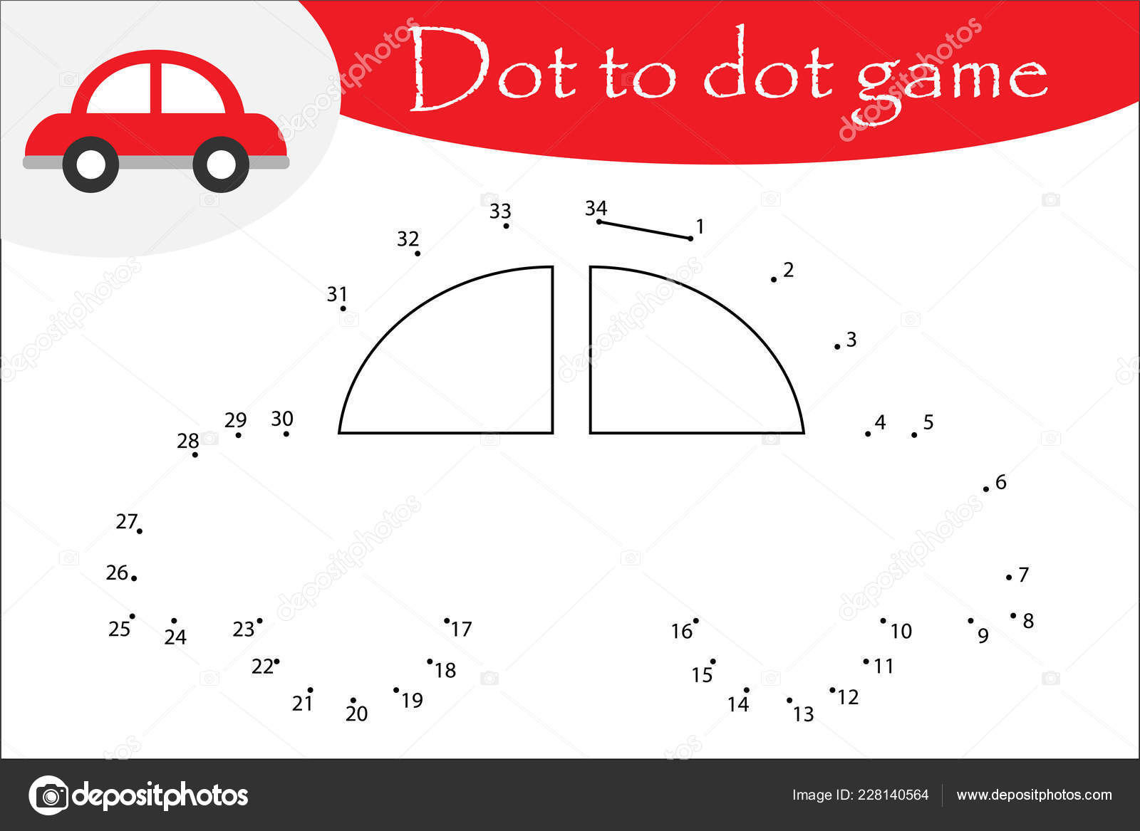 Car Cartoon Style Dot Dot Game Coloring Page Education