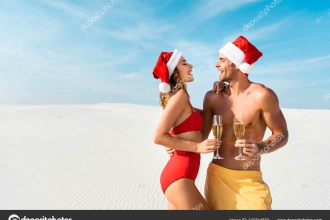 Sexy Girlfriend Boyfriend Holding Champagne Glasses Hugging Beach Maldives — Photo | Depositphotos