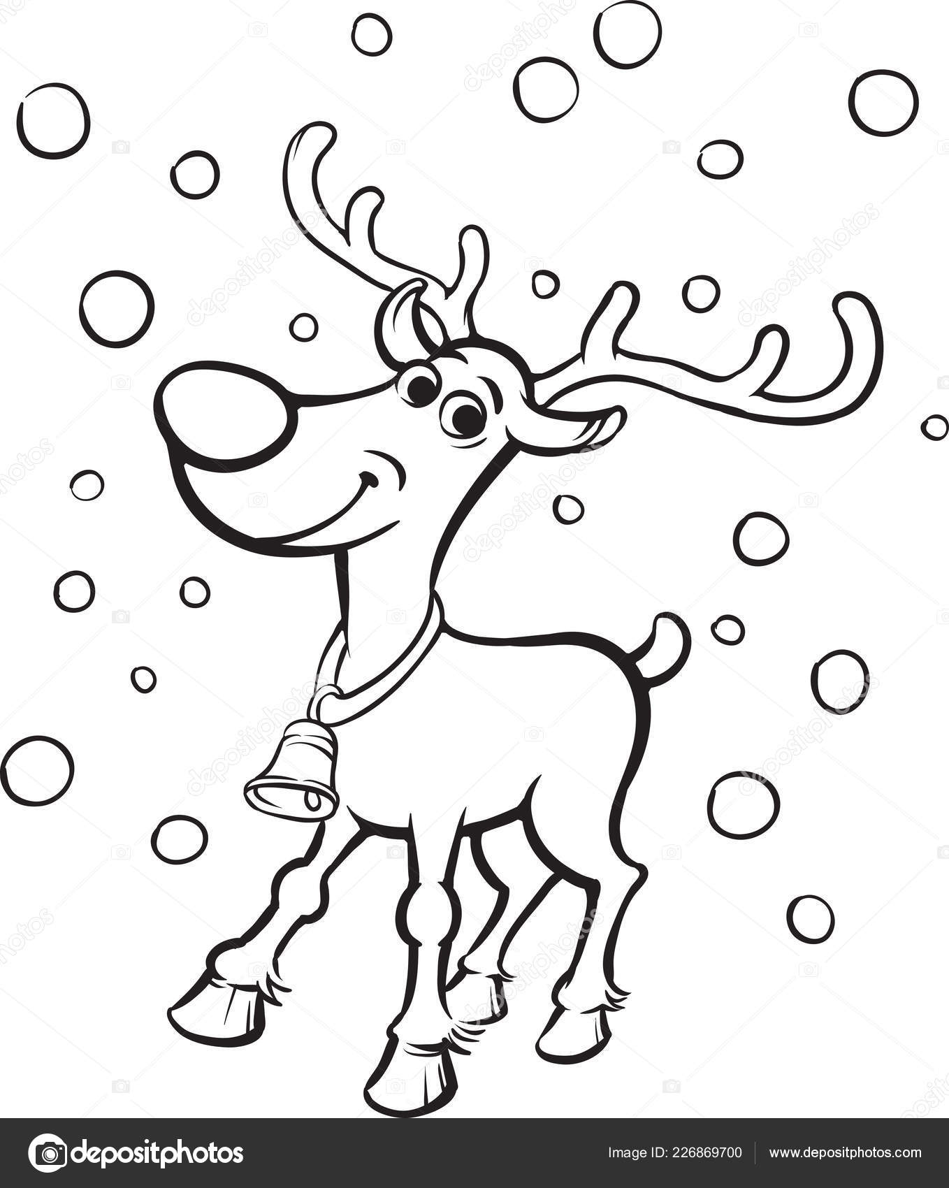 Vector Illustration Coloring Book Rudolph Red Nosed