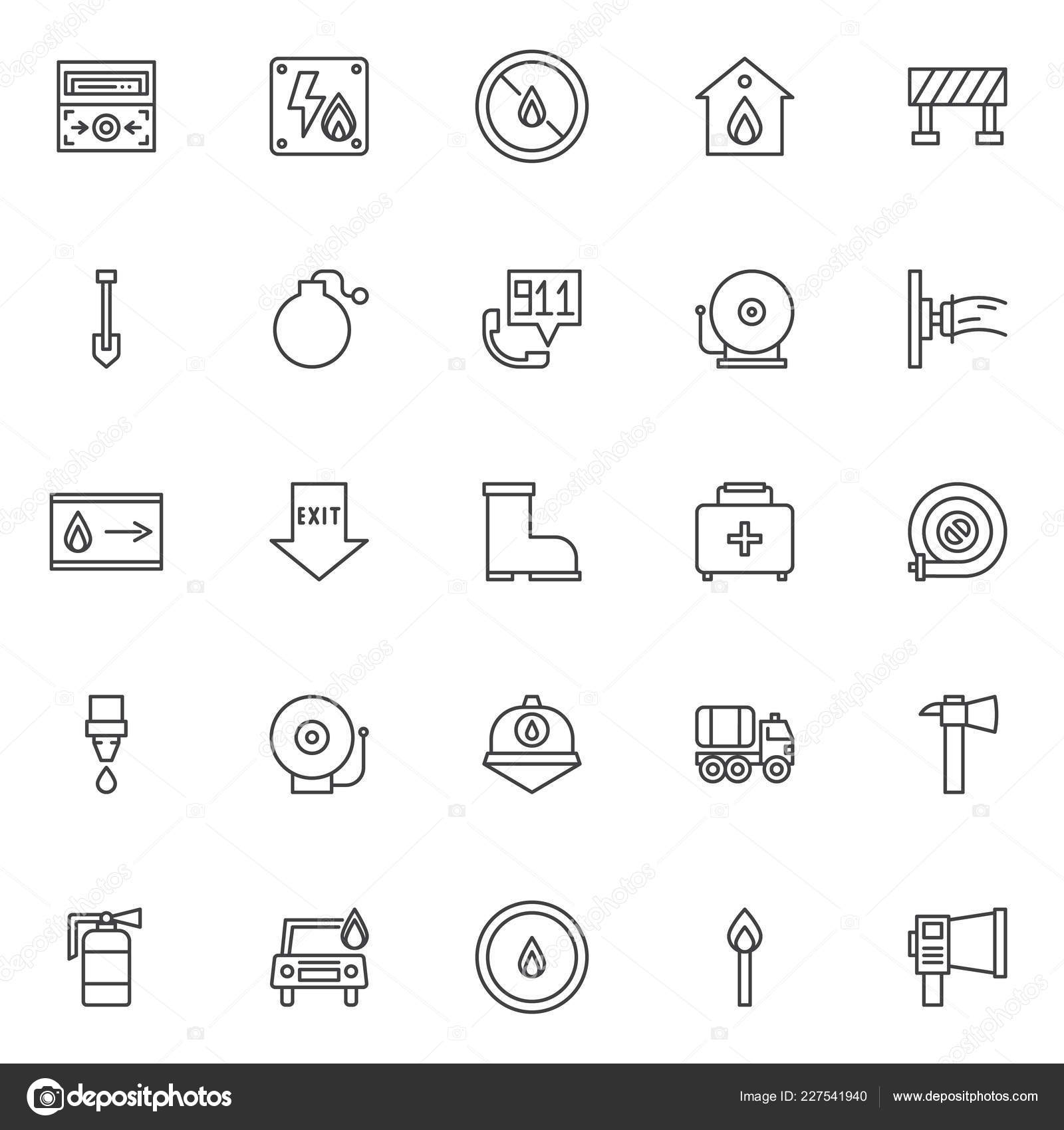 Fire Department Outline Icons Set Linear Style Symbols