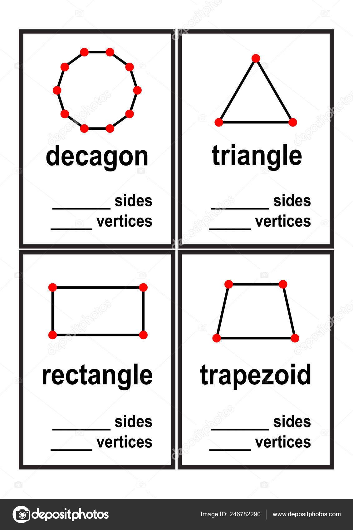 Count Sides Vertices Shapes Worksheet Preschool Kids