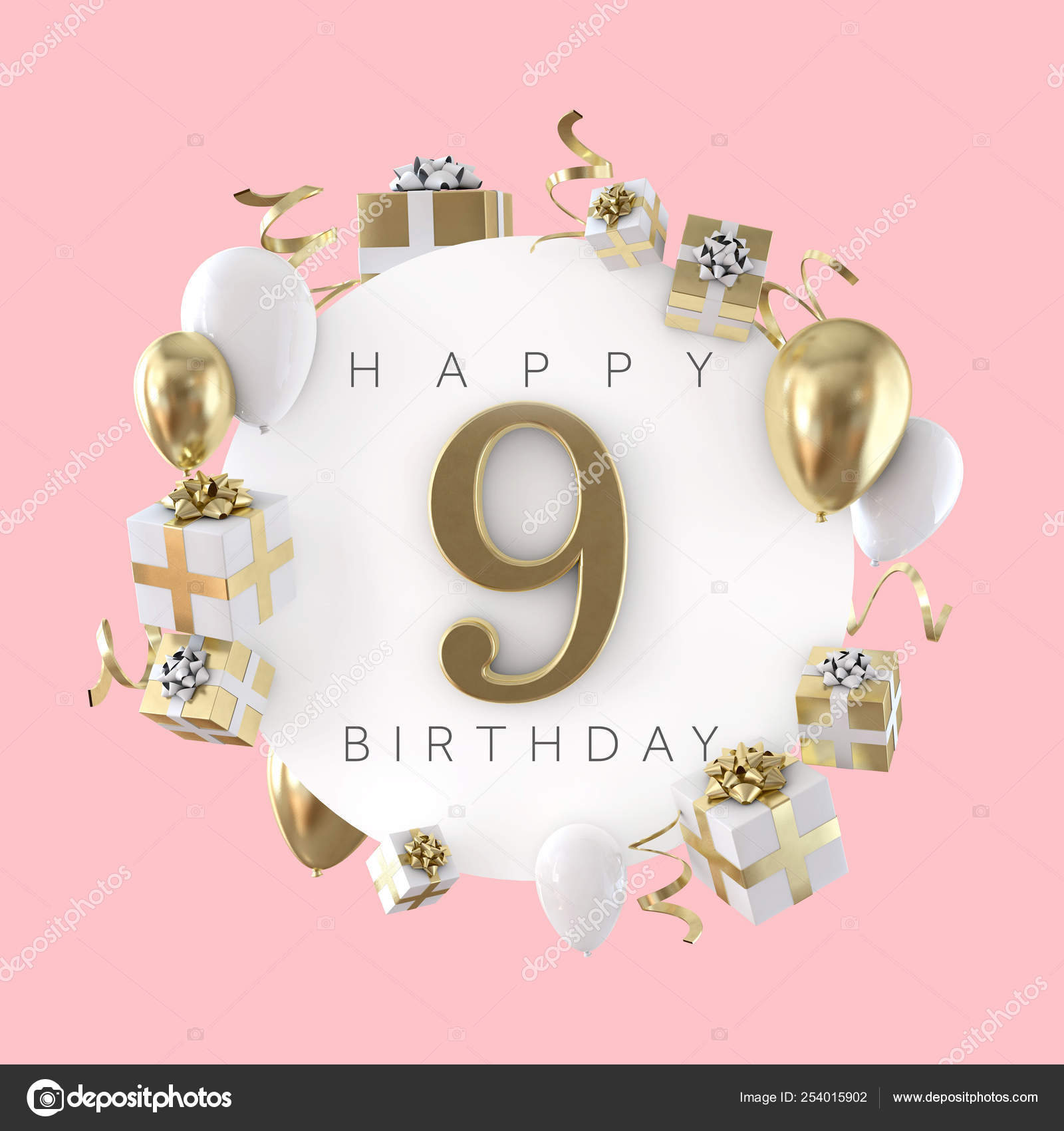 Happy 9th Birthday Party Composition With Balloons And Presents 3d Render Stock Photo Image By C Inkdropcreative 254015902