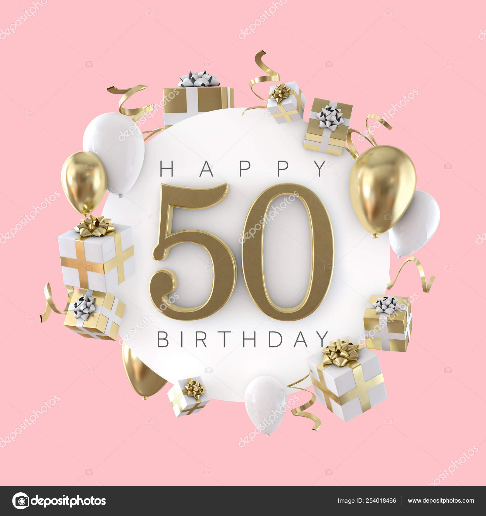 Happy 50th Birthday Party Composition With Balloons And Presents 3d Render Stock Photo Image By C Inkdropcreative 254018466