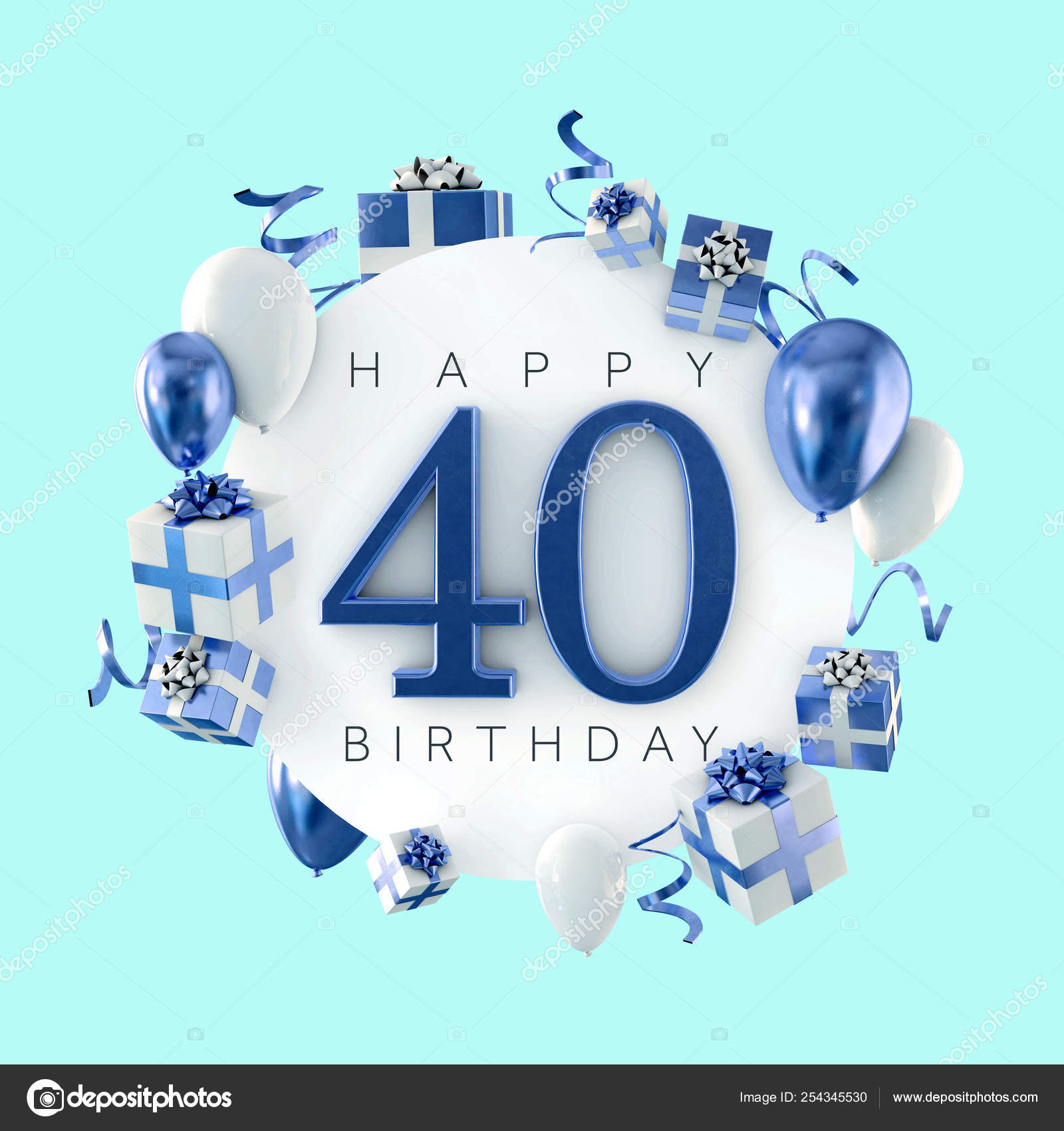 Happy 40th Birthday Party Composition With Balloons And Presents 3d Render Stock Photo Image By C Inkdropcreative 254345530