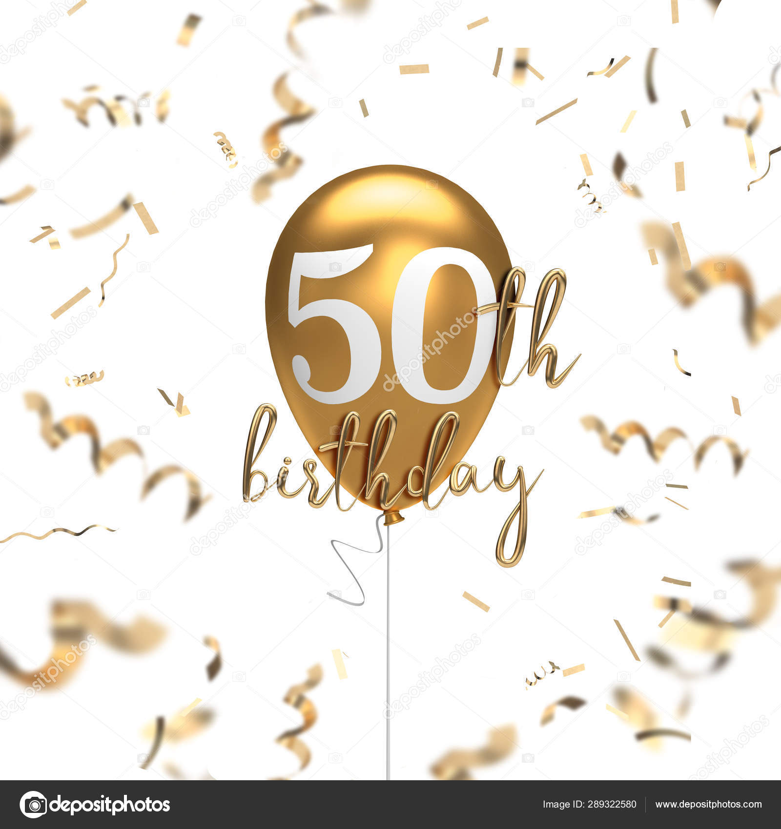 Happy 50th Birthday Gold Balloon Greeting Background 3d Renderi Stock Photo Image By C Inkdropcreative 289322580