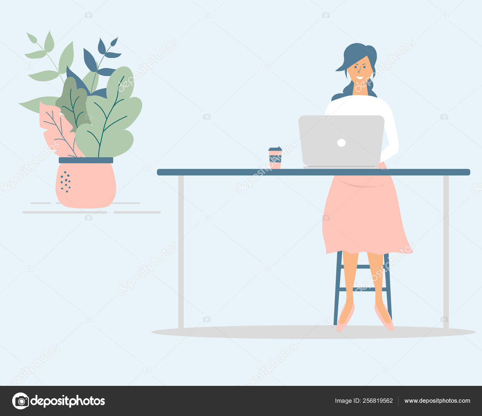 Cute Woman Freelancer Work Computer Table Successful Female