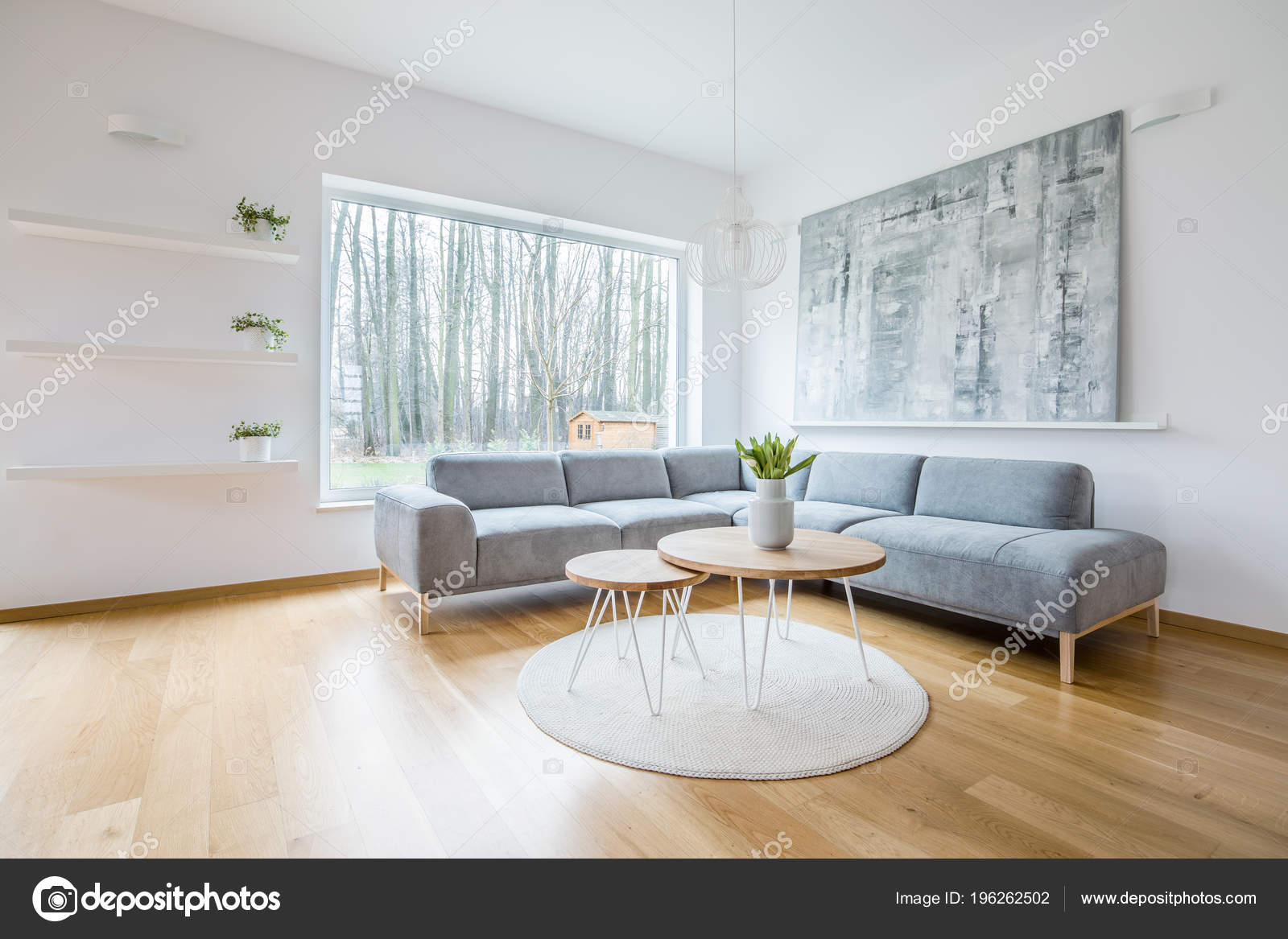 Two Hairpin Tables Placed Rug White Sitting Room Interior