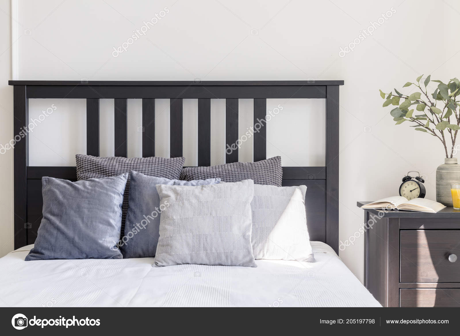 Grey White Pillows Bed Black Headboard Simple Bedroom