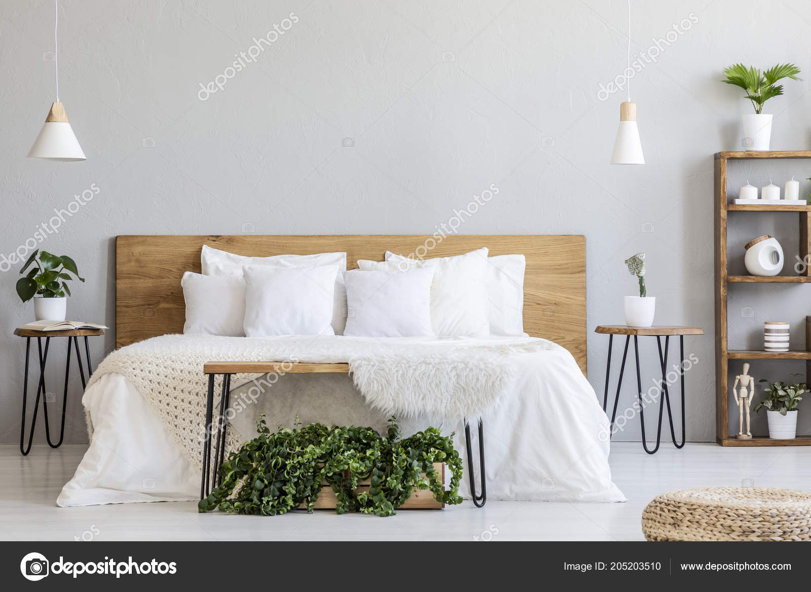 Lamps Wooden Bed White Sheets Grey Bedroom Interior Pouf