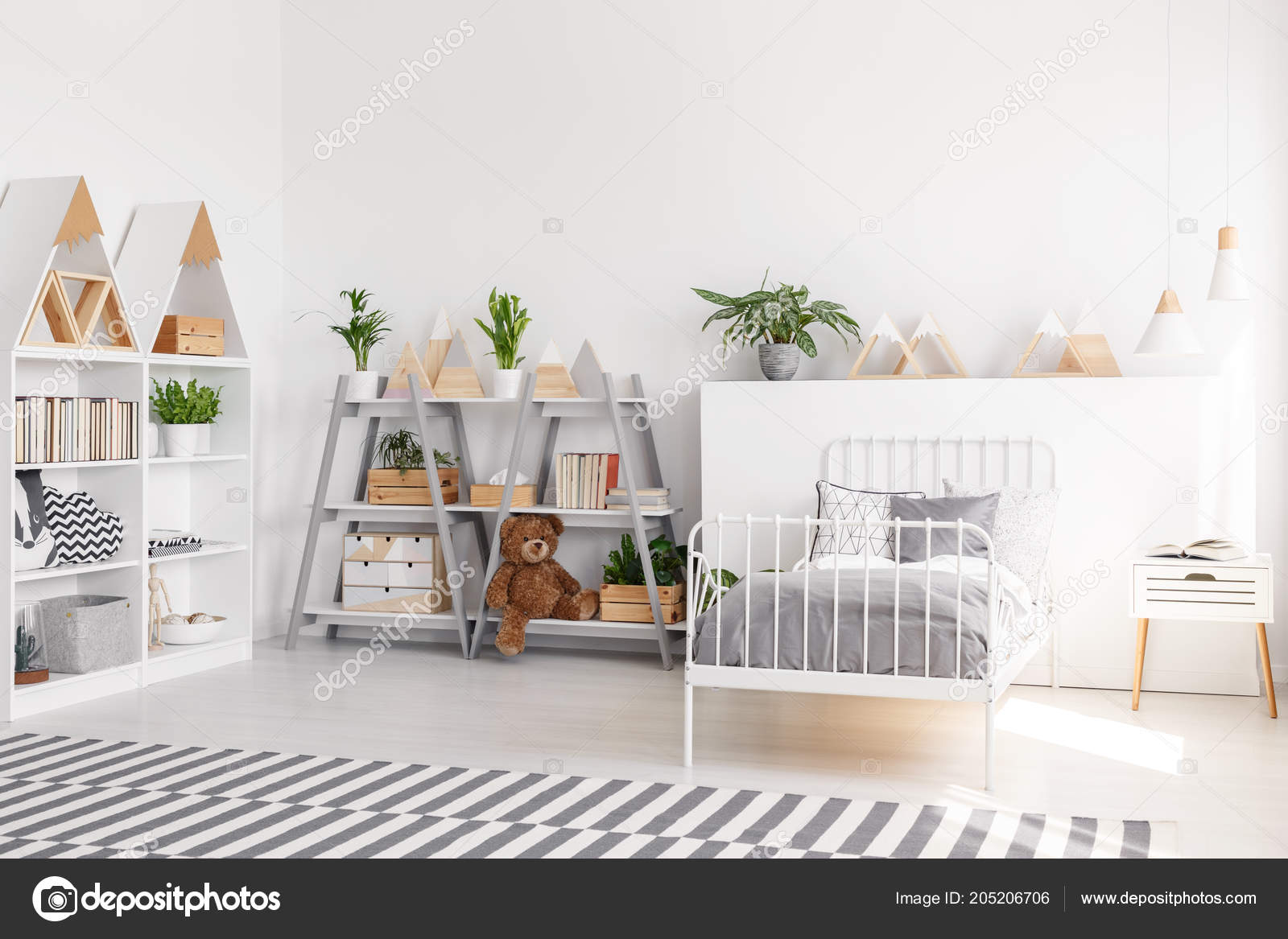 Plants Plush Toy Shelves Scandi Child Bedroom Interior Grey
