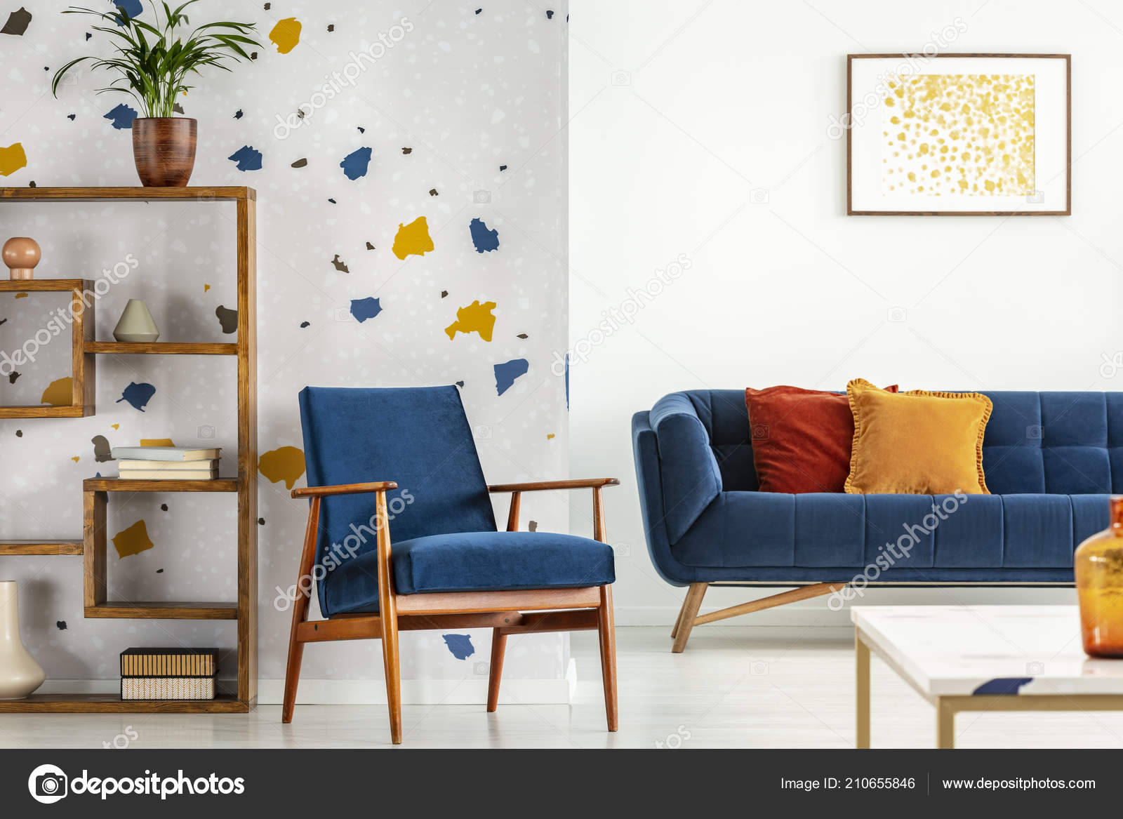 armchair couch pillows blue orange living room interior poster plant stock photo image by c photographee eu 210655846