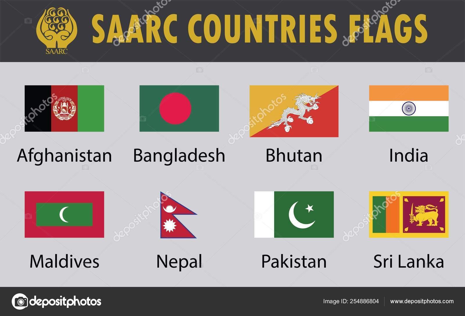 Flag Set Saarc Countries Eight Saarc Countries Flags
