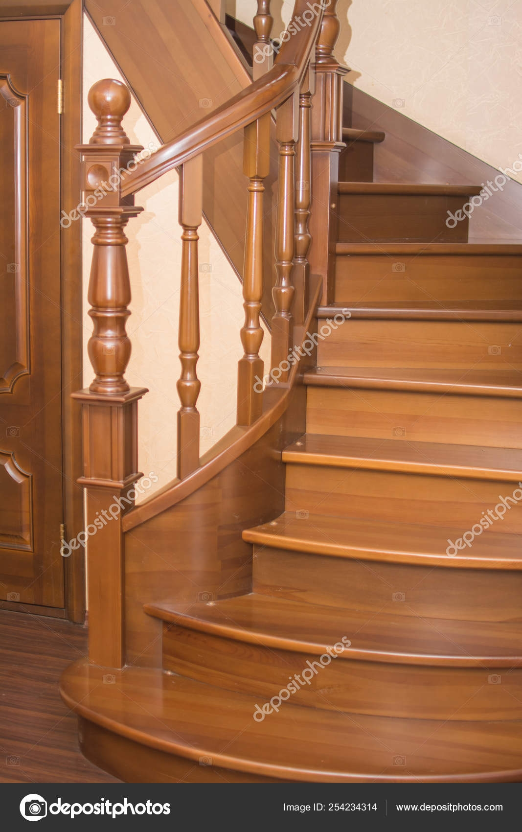 Brown Spiral Wooden Staircase Wooden Railing Steps — Stock Photo   Wooden Railing Designs For Stairs   Handrail   Different Kind Wood   Combination Wood   Interior   Indoor