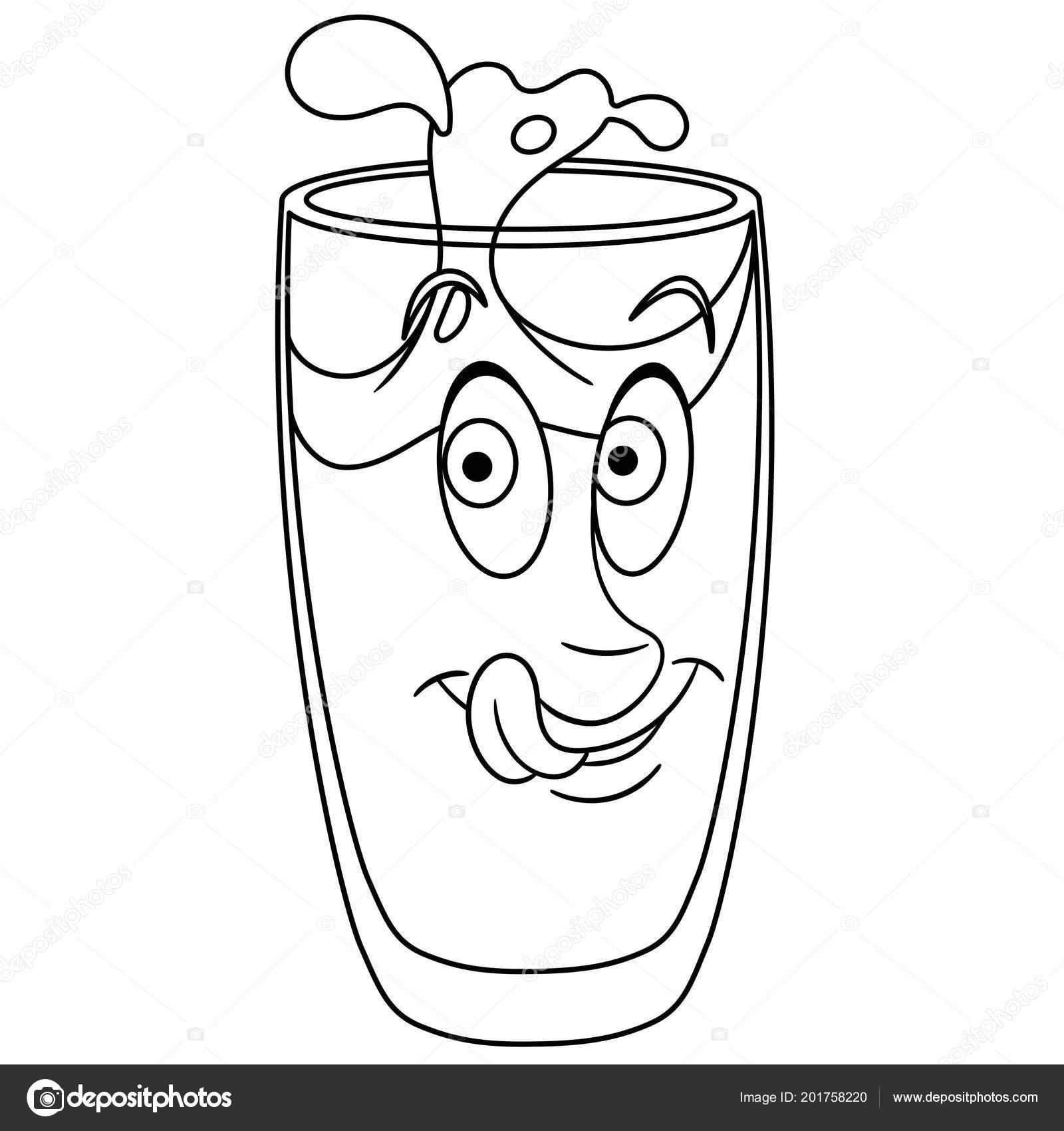 Pagina Para Colorir Livro Colorir Copo Agua Bebida