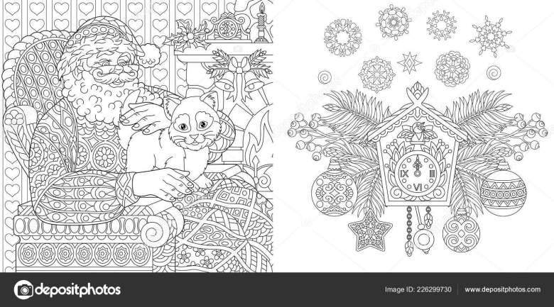 christmas coloring book christmas colouring pages santa claus cat
