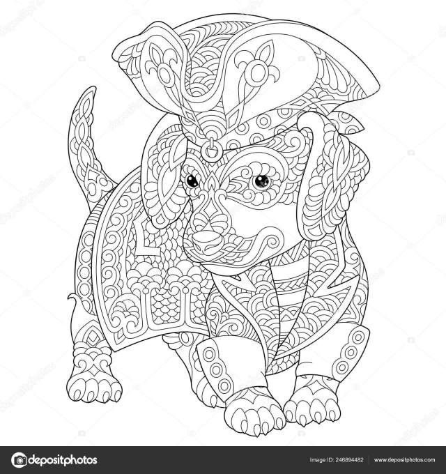 Coloring Page Coloring Book Stress Colouring Picture Dachshund Dog