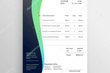 Modern Invoice Template Wavy Style     Stock Vector      StarLine  204136724 Modern Invoice Template Wavy Style     Stock Vector