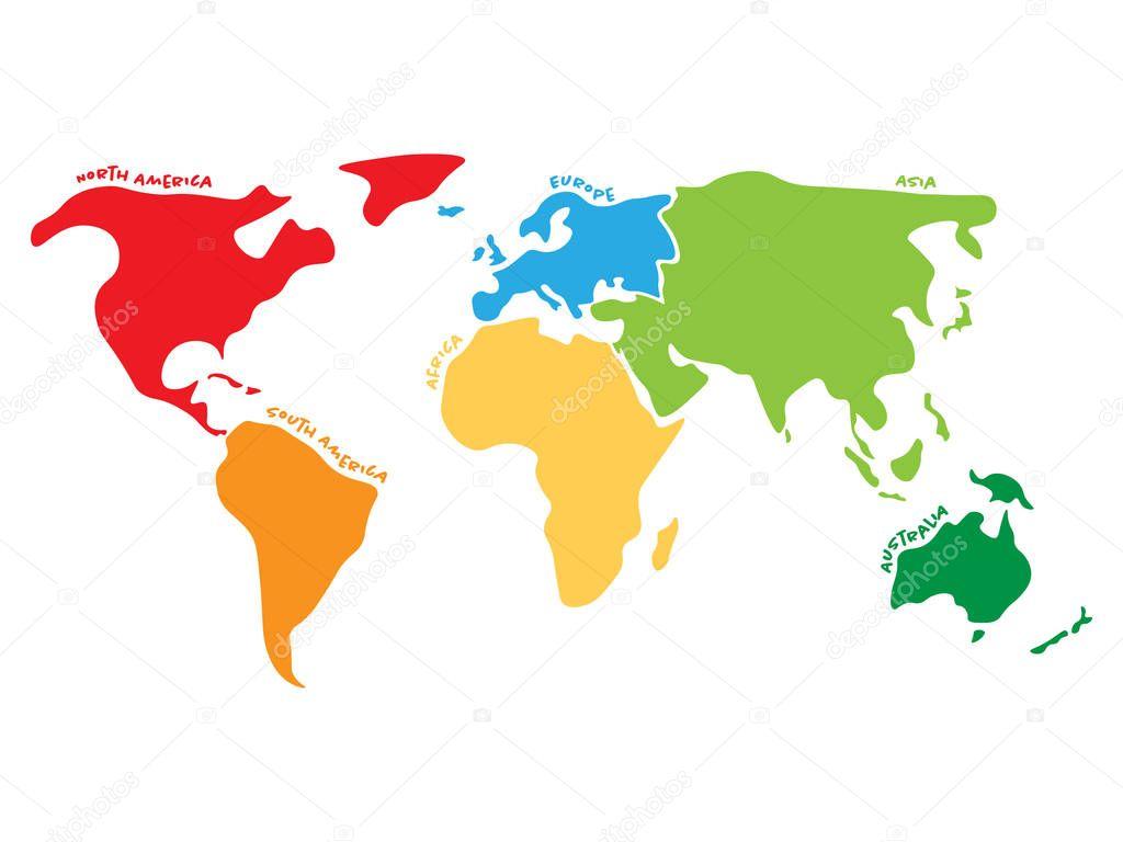 Mapa Mundi Multicolorido Dividido Em Seis Continentes Em