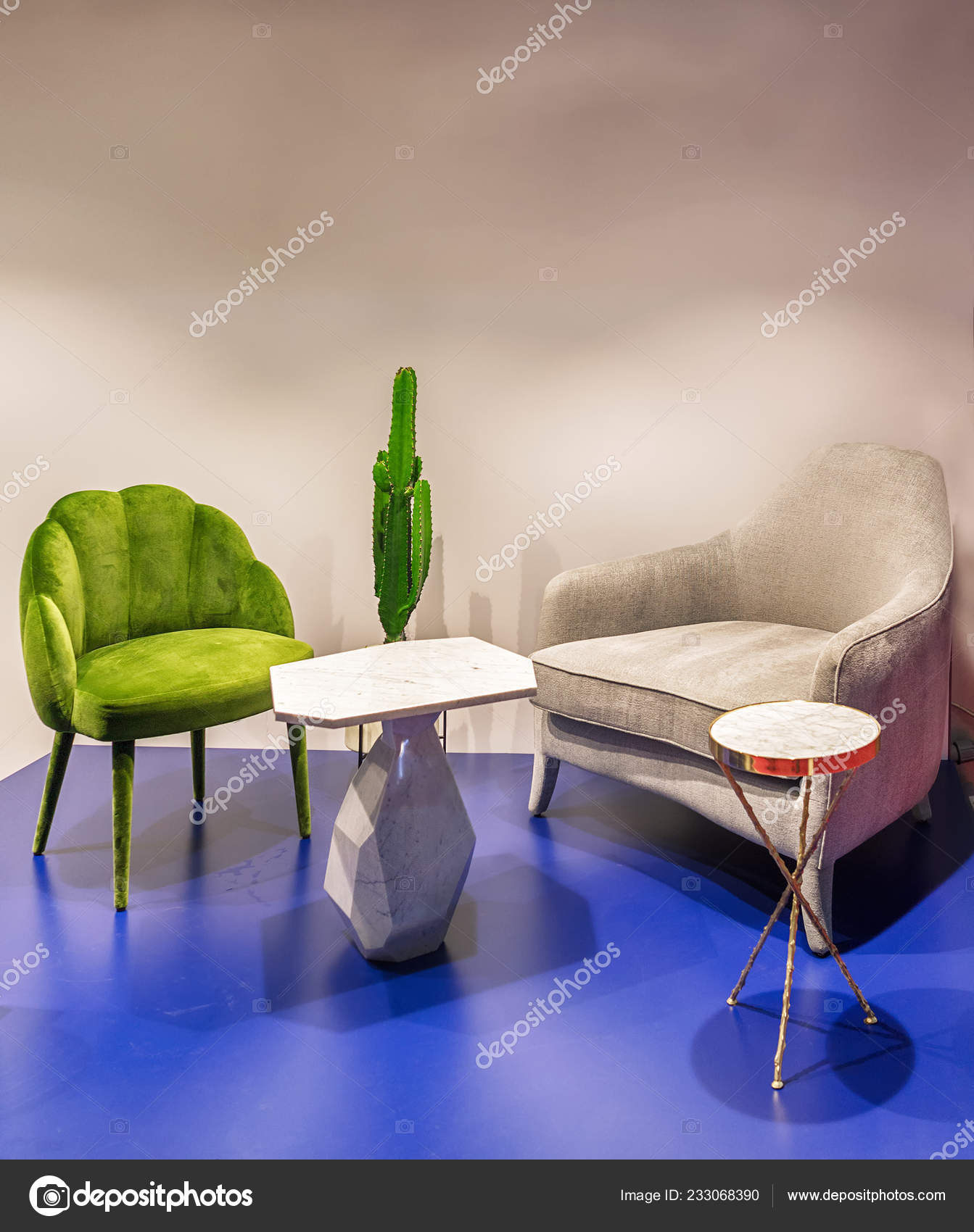 soft chairs stylish coffee tables interior modern living room stock photo image by c fotiy 233068390