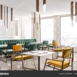 Corner Modern Restaurant Beige Geometric Pattern Walls Wooden Floor Green Stock Photo C Denisismagilov 226426508