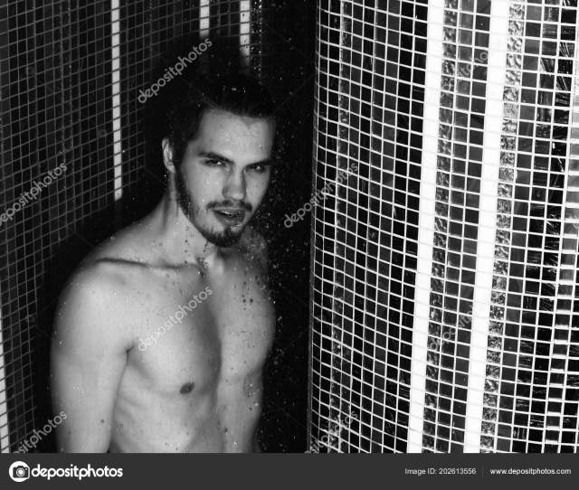 Handsome Muscular Sexy Man Washes In Shower Stock Photo