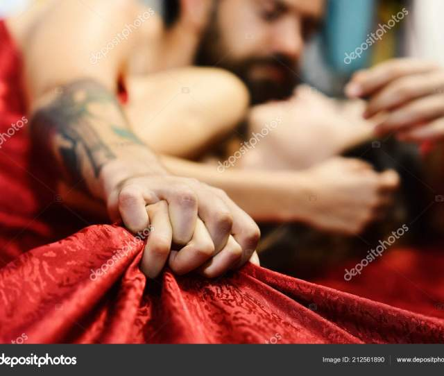 Perfect Morning And Sex Concept Couple Holding Hands Tight Stock Photo