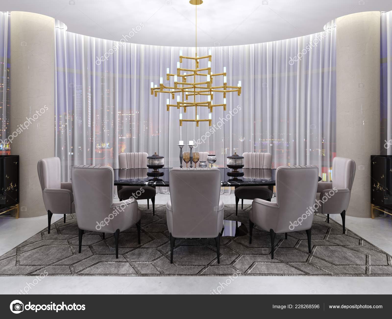 Large Dining Table Hotel Eight People Black Table Glass Tabletop Stock Photo C Kuprin33 228268596
