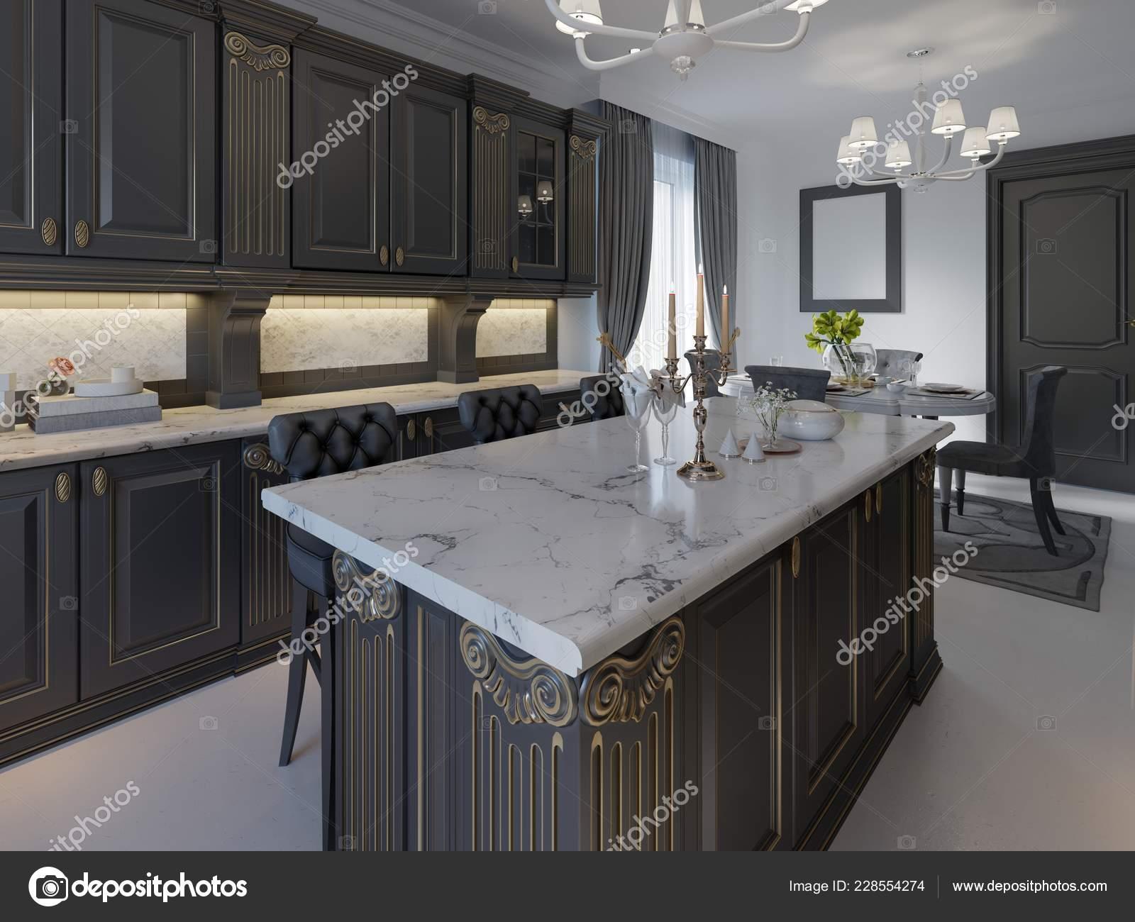 Black Bar Stools Kitchen Island Bright Living Room Rendering Stock Photo C Kuprin33 228554274