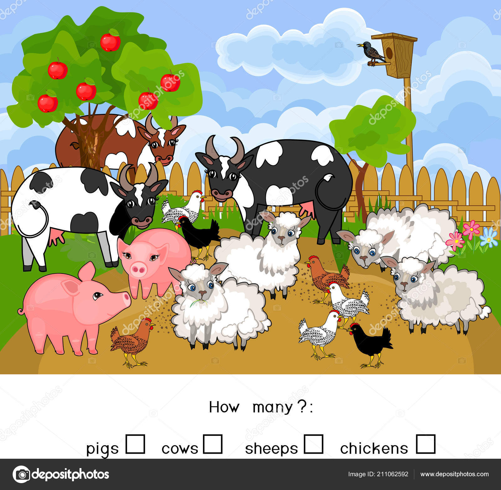 How Many Animals Counting Educational Game Different