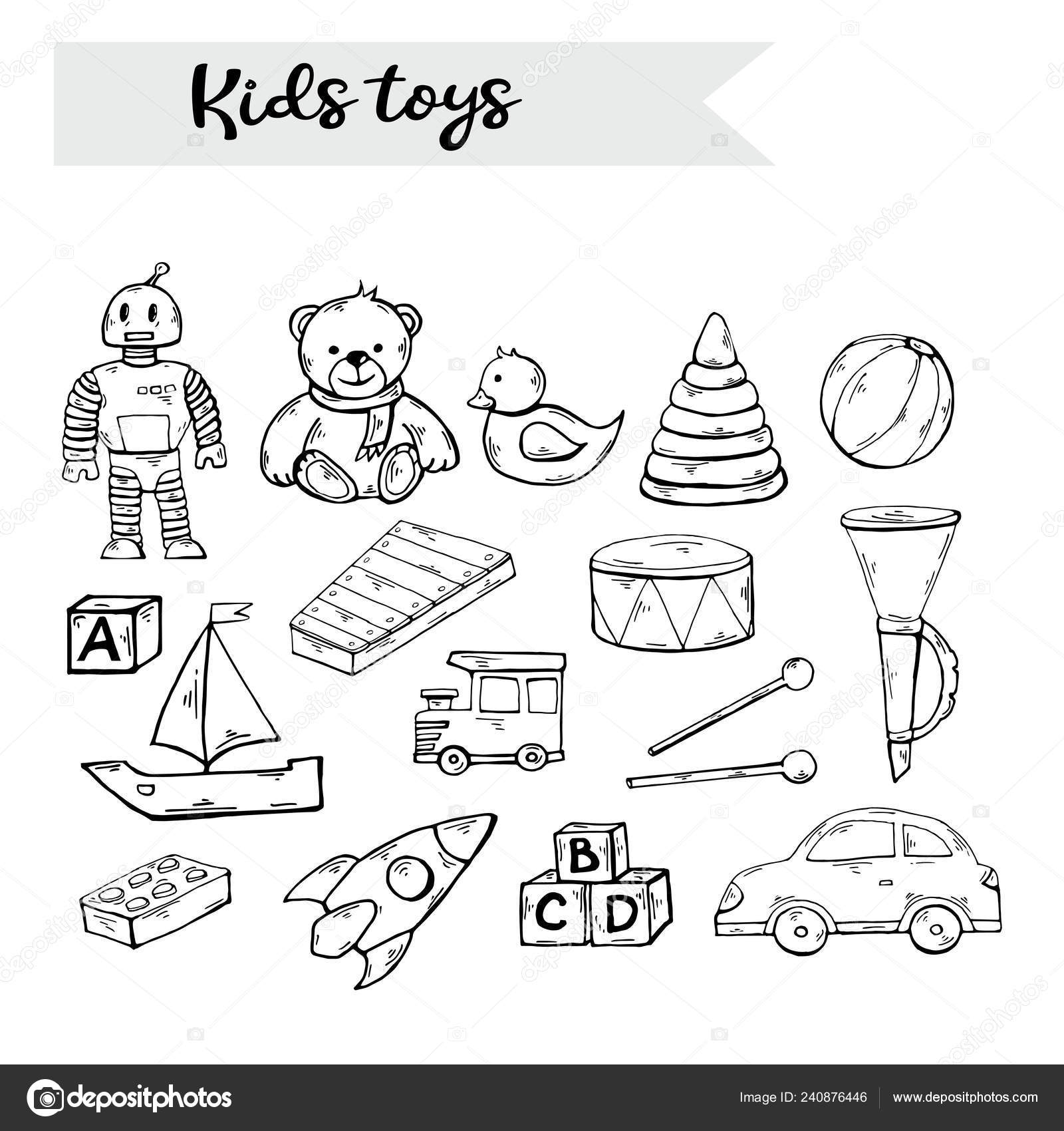 Vector Hand Draw Kids Toys Set In Doodle Style Isolated On