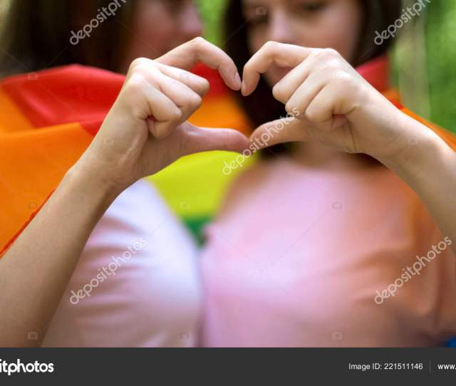 Lesbian Couple Wrapped Rainbow Flag Free Demonstration Love Lgbt Rights Stock Photo