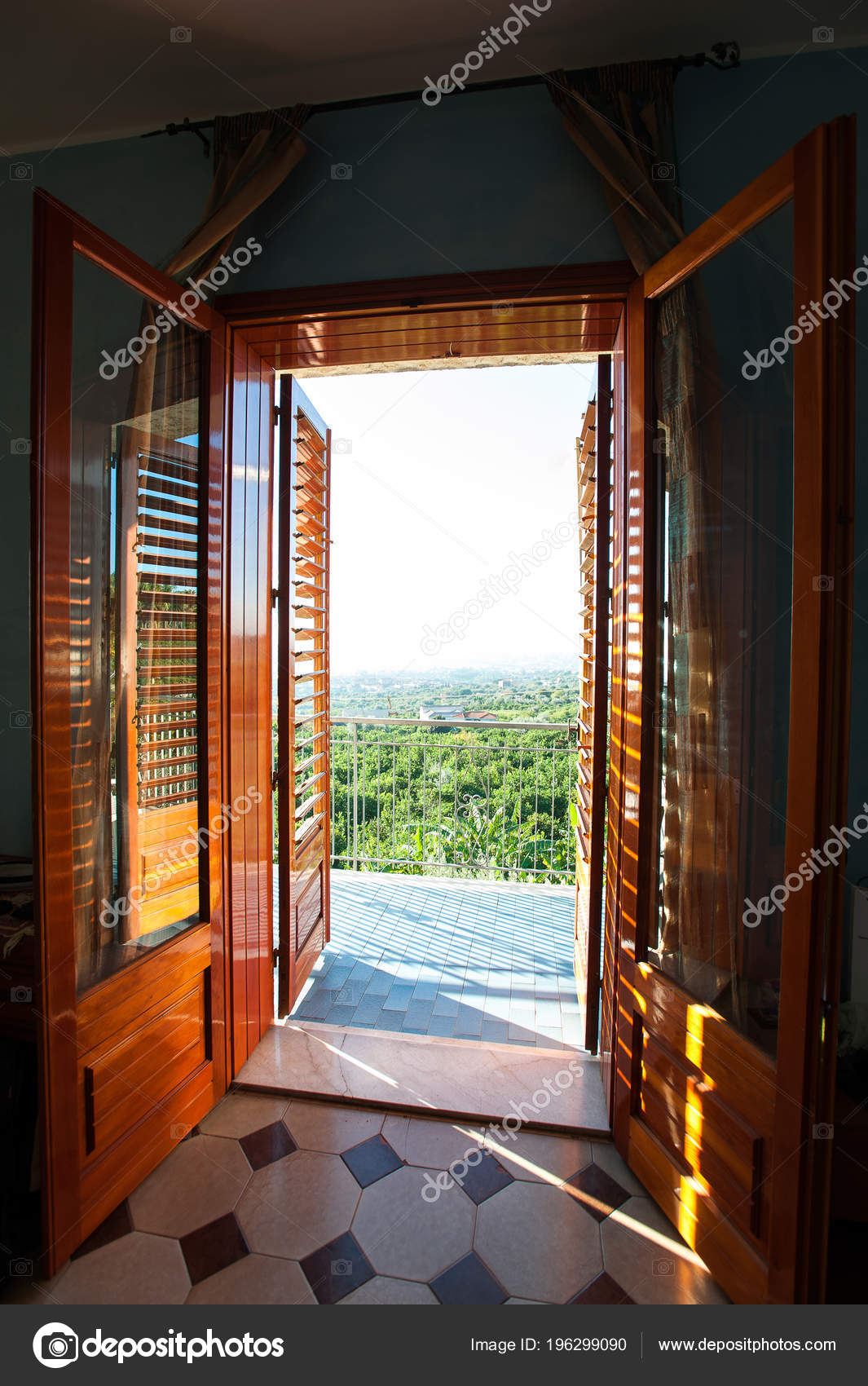 Opened Brown Wooden Shutters Balcony Window Spectacular View