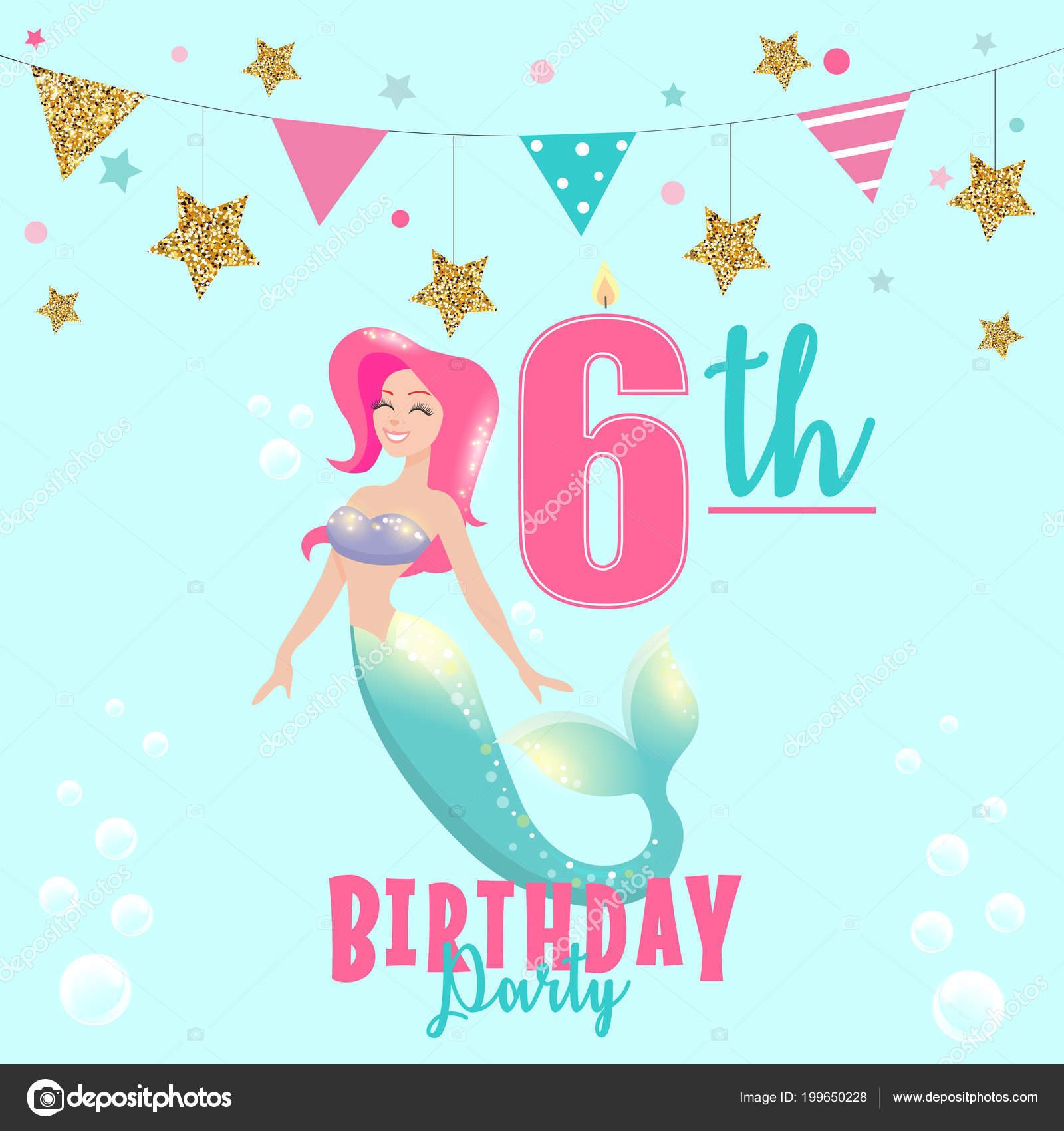 Colorful Vector Template 6th Birthday Party Invitation Mermaid Vector Image By C Elenabaryshkina Vector Stock 199650228