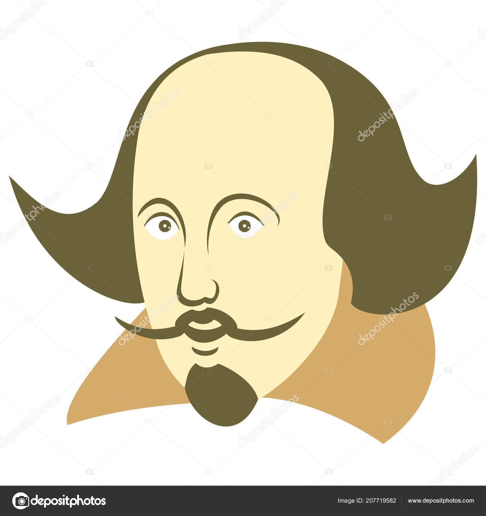Vector Illustration William Shakespeare Cartoon Style