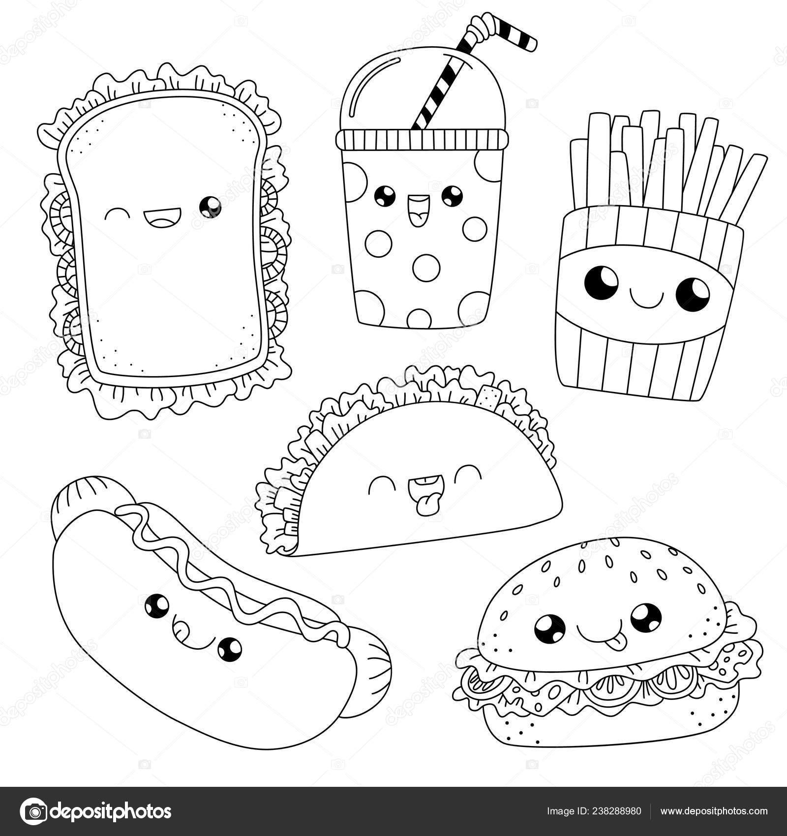 Book Fast Potraviny Doodle Omalovanky