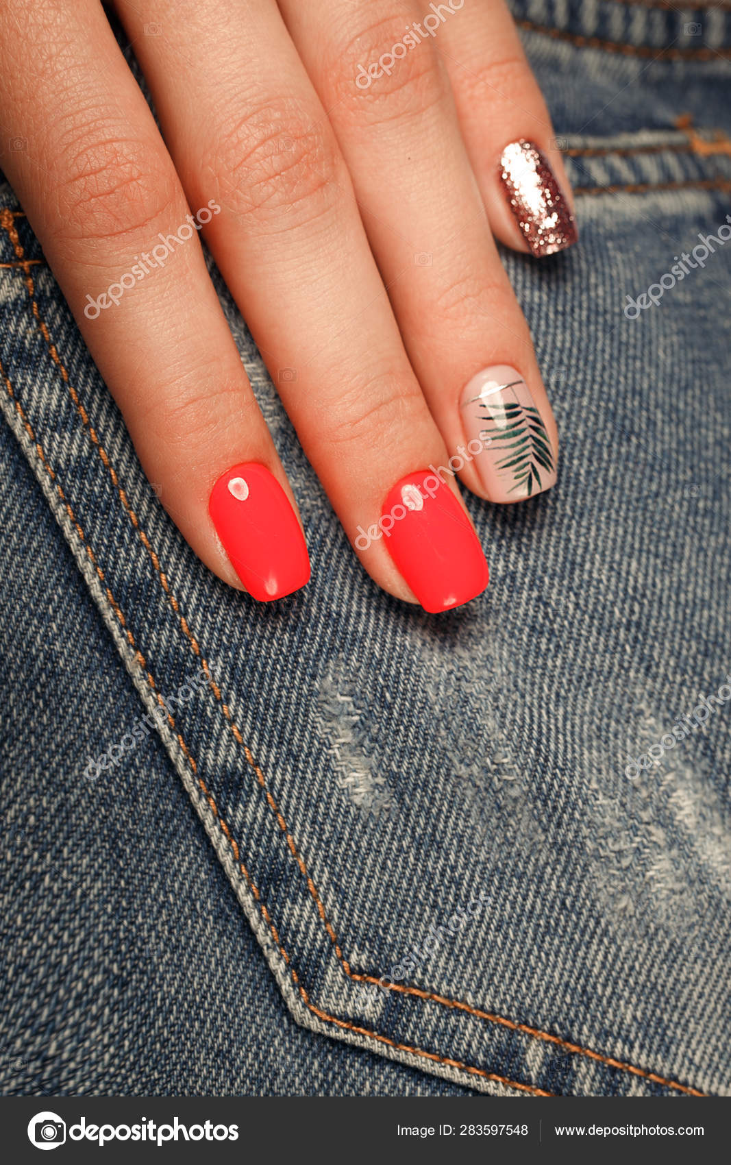 Bright Neon Red Manicure On Female Hands On The Background Of