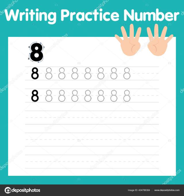 Writing practice number eight Stock Vector Image by ©fiestachka